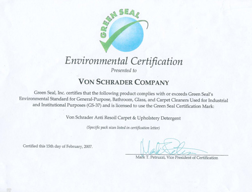 Our Green Seal Certification